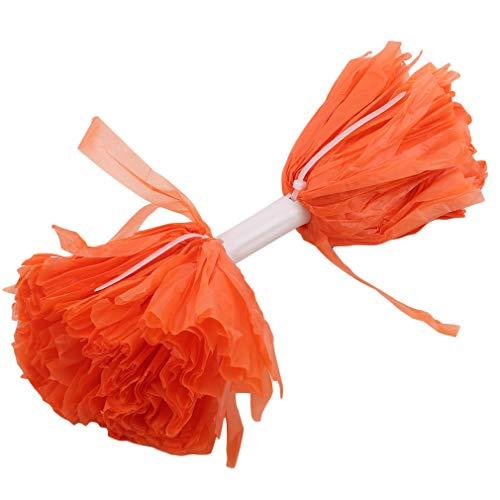 CAVIVIUK Metallic Folie Cheerleading Pom Poms Cheerleader Pompoms Jubel Hand Blumen für Sport Cheers Ballspiel Tanz Kostüm Nacht Party,Orange