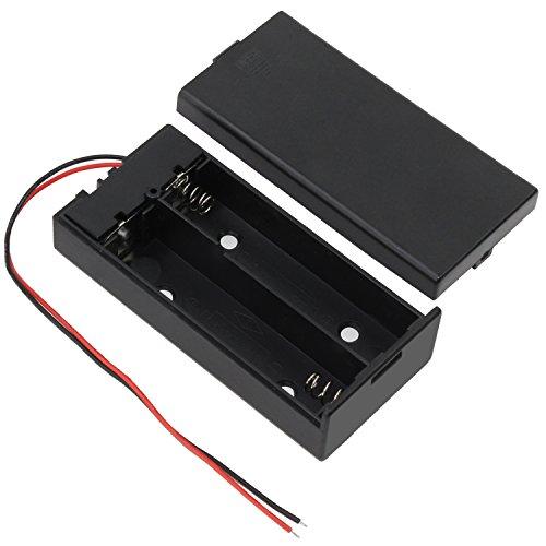 KEESIN 3.7V 18650 Batteriehalter Fall Kunststoff Akku Aufbewahrungsbox mit EIN/AUS Schalter und Befestigung Kabelbinder 2 Solts × 4 Stück