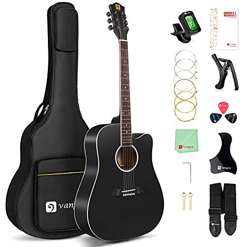 Acoustic Guitar, 41 Inch Black Acoustic Guitar for Adult Dreadnought Cutaway Full Size Acoustic Guitar Starter Bundle Kit for Beginner , by Vangoa