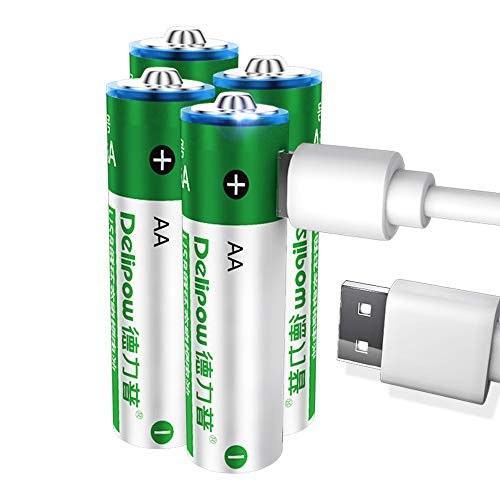Delipow AA Rechargeable Batteries,USB 1.5V Lithium Rechargeable Batteries, High Capacity 2800mWh Li-ion AA Battery,1 H Quick Charge ,1200 Cycles with USB Cable- 4 Pack