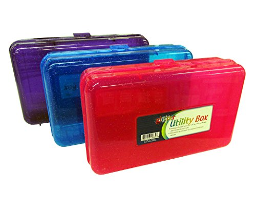 Set of 3 Glitter Utility Storage Box for School Supplies or Arts & Crafts 8' x 5' x 2.5'