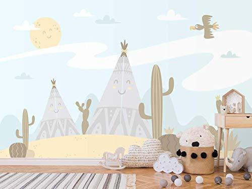 Papel Pintado Infantil para Pared Campamento Indio | Mural | Papel Pintado Infantil |350 x 250 cm | Decoración comedores, Salones, Habitaciones