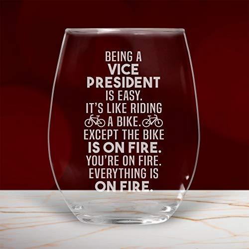 Copa de vino Vice President sin tallo, divertido regalo para mujeres, hombres, ella, Vp Appreciation 17 onzas