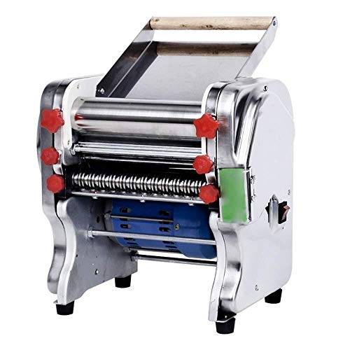 KAIBINY Pasta Machine 110V-220V Stainless Steel Commercial Electric Pasta Maker Dough Roller Noodle Cutting Machine Noodle Making Manual Pasta Machines (Color : Silver, Size : 33X35X42CM)