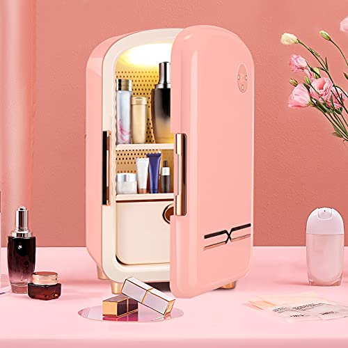 KOSIEJINN Mini Nevera 12 Litros Nevera Para El Cuidado De La Piel Compacta, Portátil Para Oficinas, Dormitorios De Estudiantes y Dormitorios Nevera Beauty Con Cajones Extraíbles (Pink)
