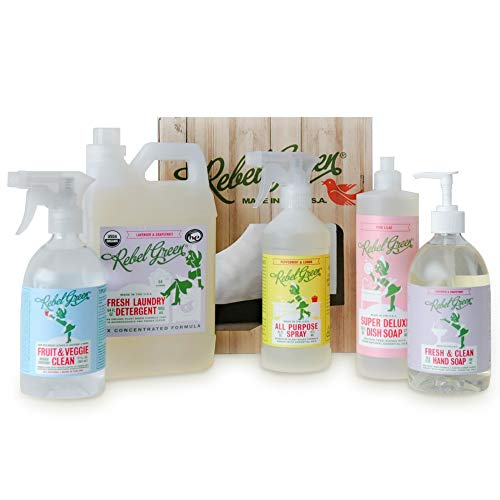 Rebel Green Complete Home Care Gift Set - Includes Natural Fruit & Veggie Wash, Laundry Detergent, Hand Soap, Dish Soap, & All Purpose Spray - Natural Household Cleaning Products - (5 Pack)