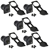Anmbest 5PCS Panel Mounting RJ45 IP65 Waterproof Cat5/5e 8P8C Ethernet LAN Cable Connector Zinc Alloy Housing Double Head Coupler Adapter Female to Female with Waterproof/Dust Cap