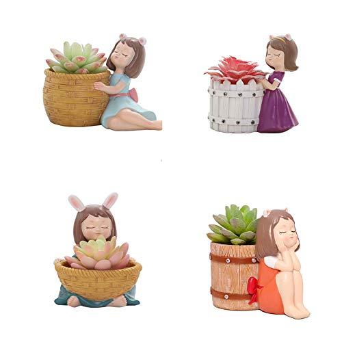 SRMTS Jardinera de Riego Maceta Redonda Conjunto de 4, Maceta de Resina de Agua Visual JardíN Decorativo Maceta de Bonsai para Plantas de Interior,Adecuado para El Cultivo de Suculentas