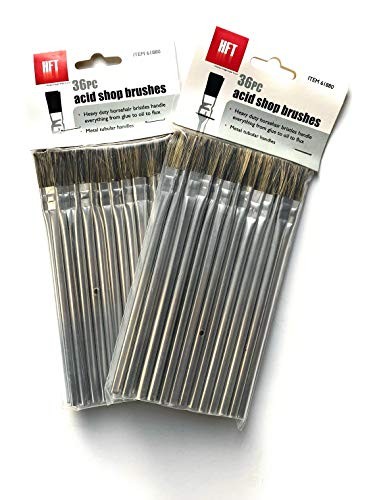 Harbor Freight Tools Horsehair Bristle Acid Shop Brushes, 1/2-inch (2 Packs of 36)
