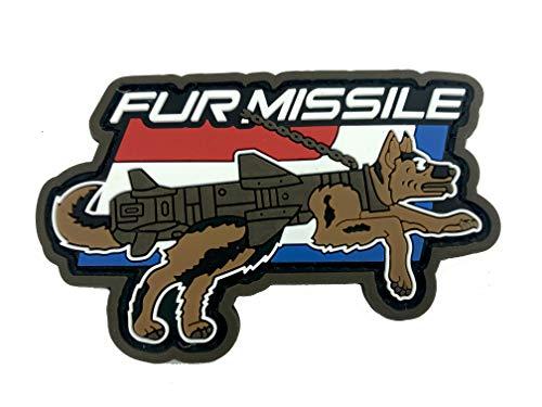 K9 Fur Missile Hund PVC Klett Emblem Abzeichen Moral Patch (Rot Weiß & Blau)