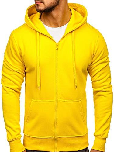 BOLF Herren Kapuzenpullover Sweatjacke Hoodie Sweatshirt mit Kapuze Reißverschluss Basic Einfarbig Fitness Training Sport Style J.Style 2008 Gelb M [1A1]