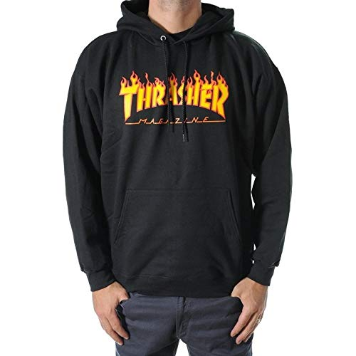 Sudadera negra con capucha Thrasher Flame negro L