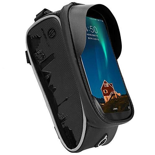 GYhxl Bolsa de Tubo Frontal para Cuadro de Bicicleta Bolsa Reflectante para Montar en Carretera Funda con Pantalla táctil para teléfono de 6,5 Pulgadas Accesorios para Ciclismo en Bicicleta-Negro