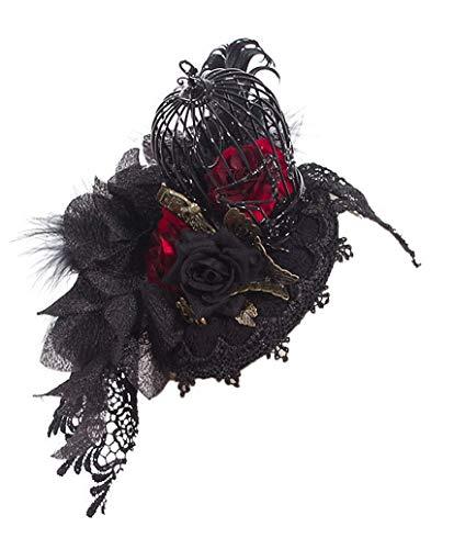 RQ-BL Coiffe Chapeau Noir et Rouge avec Rose, Papillon, Dentelle et Cage à Oiseau