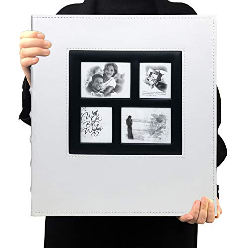 RECUTMS Photo Albums 4x6 Hold 600 Photos Black Pages Large Capacity Leather Cover Wedding Family Photo Album Books Horizontal and Vertical Photos (White)