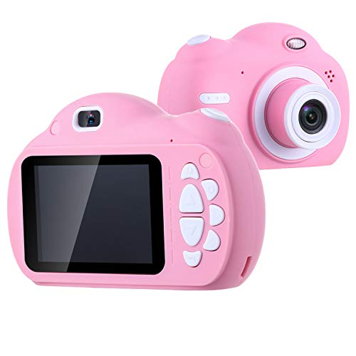 FOVIUPET Portable 2.4 Inch Screen HD 1080P Dual Lens Children Digital Cameras Kids Selfie Camcorder with 32GB SD Card for 3-10 Year Old Girls Boys Best Birthday Gift Toys (Pink)