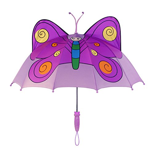 Kidorable Purple Butterfly Umbrella for Girls w/Fun Butterfly Handle, Pop-Up Wings, Antennae, 1 Size