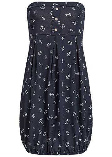 Styleboom Fashion® Damen Mini Bandeau Kleid Anker Muster Sommerkleid Strandkleid Navy blau, Gr:S