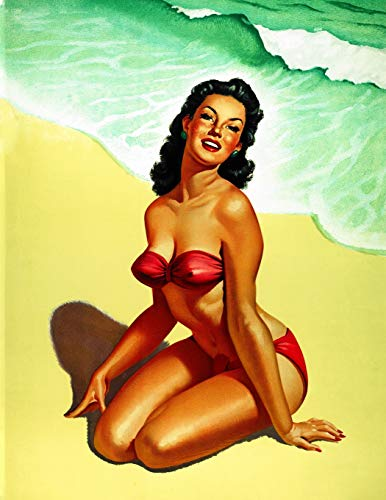 Pin-up Beauty on the Beach Notebook: 8.5