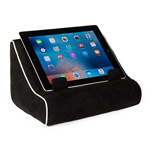 Soporte para iPad, soporte para tableta y libro, cojín de lectura en la cama en casa, viajes, soporte para descanso, idea de regalo compatible con eReader/Kindle/Smartphone (negro)