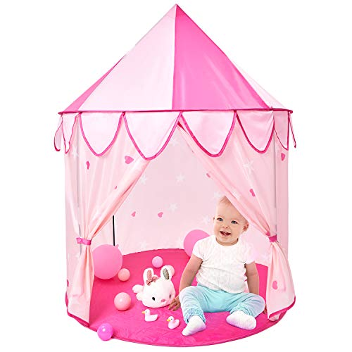 Theefun Play Tent for Kids, 41.5 x 53 inch Princess Castle Tent Foldable Pop Up Tent with Storage...