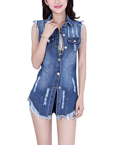 Donna Giacca Denim Senza Maniche Gilet in Jeans Strappati Giubbotto Slim Fit Azzurro Chiaro XL