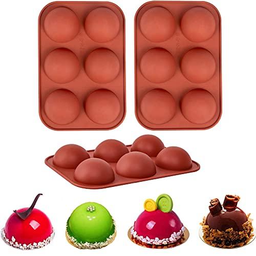 Moldes de silicona para chocolate, 3 paquetes de moldes para hornear para hacer chocolate caliente, bomba, torta, gelatina, cúpula de mousse (mediano, marrón)
