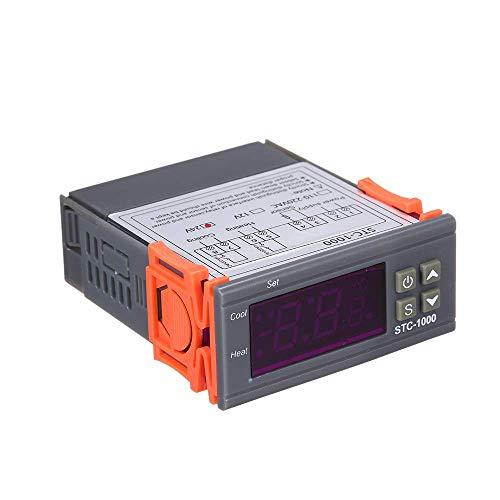 Decdeal-STC-1000 Controlador Digital de Temperatura Calefacción Refrigeración Centígrado Termostato 2 Relés Salida con Sensor