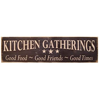 Messenger Block Wood  Kitchen Gatherings  Distressed Country Rustic Sign Black