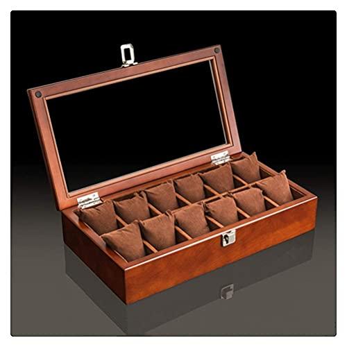 JIANGCJ Caja organizadora de reloj de madera bonita con tapa negra, caja de madera para guardar relojes, cajas de regalo (color: 12 ranuras)
