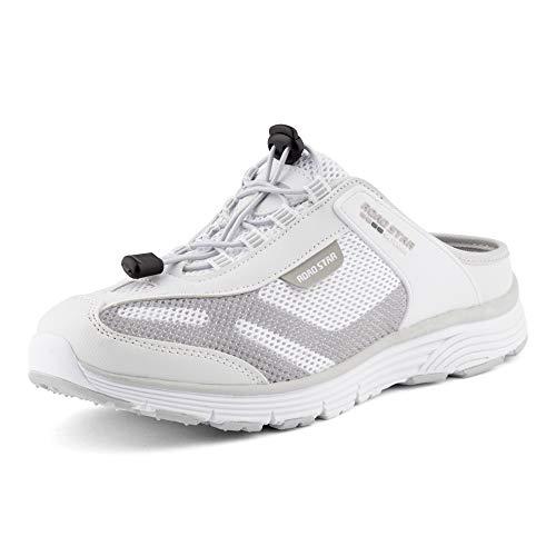 Fusskleidung Damen Herren Sabots Sneaker Sportschuhe Slip-On Clogs Pantoletten Freizeit Sandalen Weiß Grau EU 45