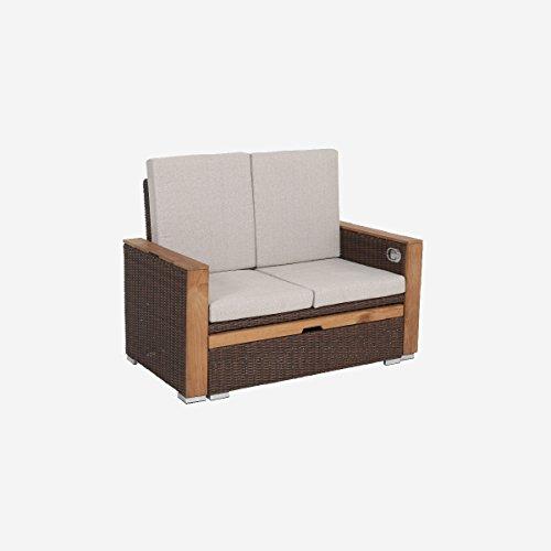 greemotion Rattan-Lounge Bahia Lanzarote, Sofa & Bett aus Polyrattan & Akazienholz, 2er Garten-Sofa mit Stahl-Gestell, Daybed zweigeteilt, braun - 4