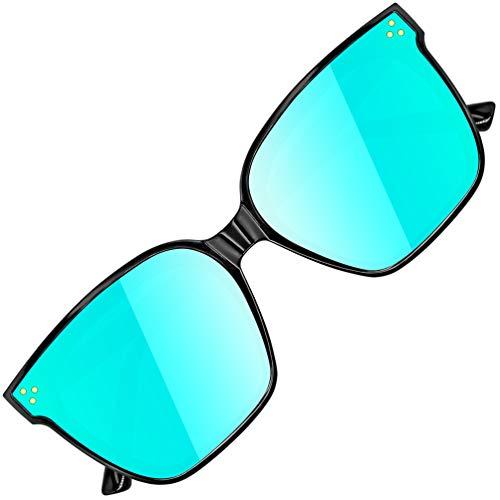 ATTCL Gafas de sol de moda grandes rectangulares con protección UV400 Marco TR90 JD211 Black+blue