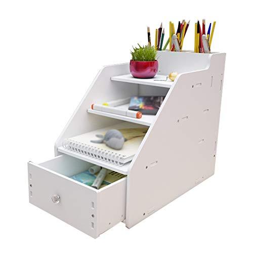 Independiente decorativo Rack de archivos, bastidor de almacenamiento de cuatro capas para archivos de libros de datos multifuncionales, caja de almacenamiento de escombros de tipo cajón de escritorio