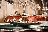 MichaelNoll Dekoteller Schale Servierplatte Schiffchen Aluminium Silber Luxus - Moderne Dekoschale länglich aus Metall - Tischdeko - Dekoration für Wohnzimmer, Esszimmer oder Küche - XXL 80 cm - 3