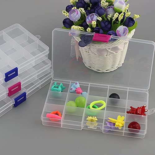 Caja de almacenamiento de plástico con 15 rejillas, para joyas, perlas y otros productos pequeños, caja organizadora transparente