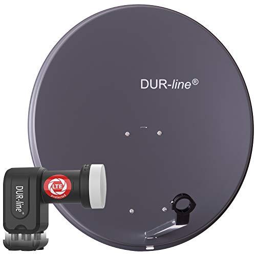 DUR-line MDA 80 Anthrazit - Digiatale 4 Teilnehmer Satellitenschüssel Komplett-Anlage mit +Ultra Quad - LNB [Camping, Astra 19,2°, DVB-S/S2, Full HD, 4K, 3D]