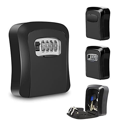 JOLIGAEA Caja fuerte para llaves, Caja de Seguridad para Llaves con Combinación 4 dígitos, Montada en la Pared, se puede clavar en la pareds, Adecuada para el Hogar, el Garaje y la Granja, ect