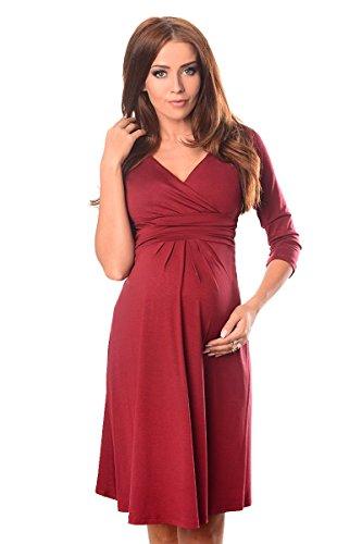 Purpless Damen Umstandskleid Schwangerschaft Kleid V-Ausschnitt Mit 3/4 Ärmeln Umstandsmode 4400 (46, Burgundy)