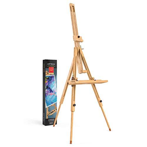 Arteza Staffelei, 95 x 100 x 198,8 cm, Holz-Ständer für Leinwände, Holzstaffelei mit verstellbarer Halterung, Stahlbeschlägen, zum Malen & Präsentieren von Kunstwerken