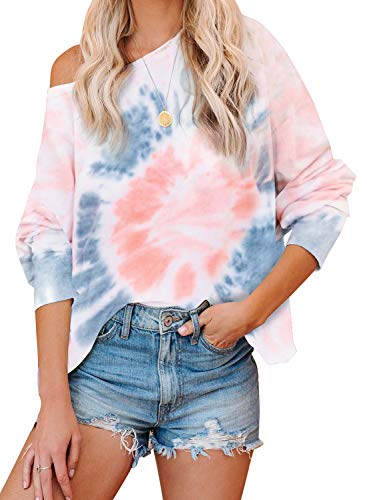 GOSOPIN Tie Dye Tops fow Women Casual Long Sleeve Ombre Printed Loose Shirts Color Block Pullover Sweatshirts Plus Size White XX Large