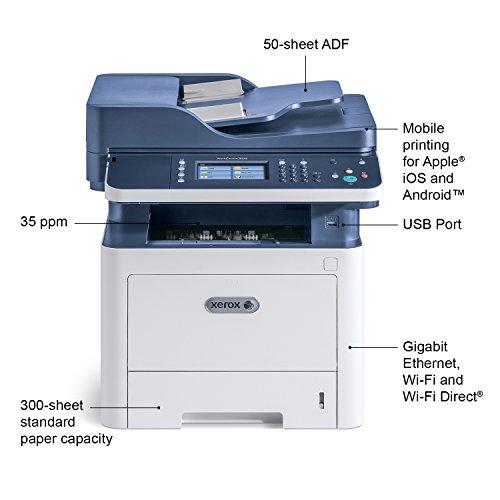 Xerox WorkCentre 3335 Laser 33 ppm 1200 x 1200 dpi A4 WiFi - Impresora multifunción (Laser, 1200 x 1200 dpi, 300 Hojas, A4, Impresión Directa, Azul, Blanco)