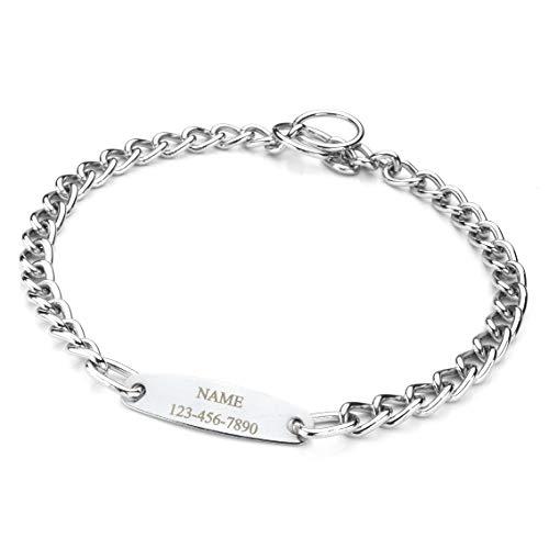 Mogoko Personalized Stainless Steel Dog Choke Chain Collar