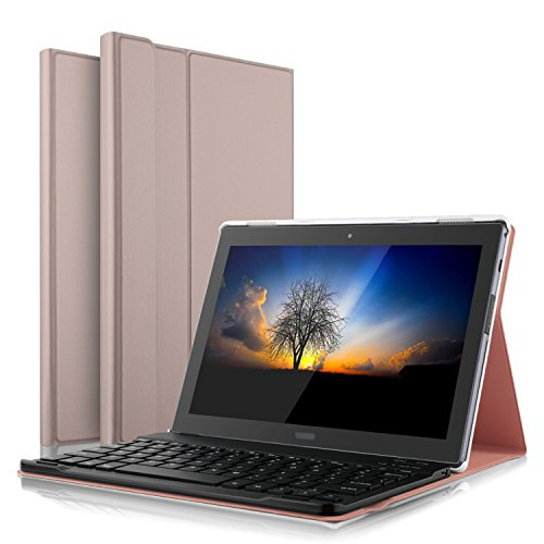 IVSO Case with Keyboard for AT&T Lenovo Moto Tab - Detachable Wireless Keyboard Front Prop Stand Case/Cover for AT&T Lenovo Moto Tab/Lenovo Tab 4 10 Plus Tablet (Rosegold)