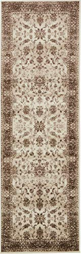 Unique Loom Rushmore Collection Traditional White Tone-on-Tone Cream Runner Rug (3' 0 x 9' 10)