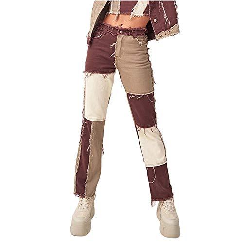 Hoch Taillierte Patchwork-Jeans Für Damen In Übergröße, Patch Flare-Jeanshose, Modische, Gerade Hose Und Sexy Vintage-Bleistifthose Für Lebhafte Frauen (Braun,XS)
