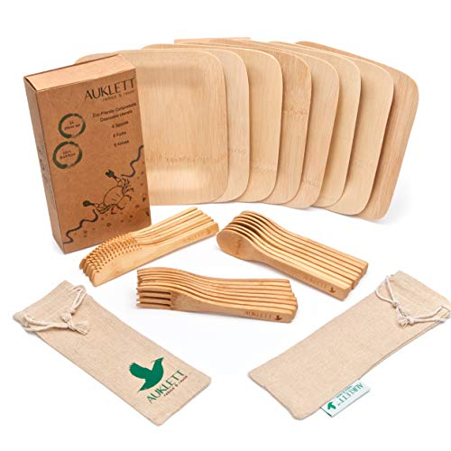 Reusable Bamboo Cutlery Set with Bamboo Plates by Auklett - 32 Pack Disposable Tableware with 2 Travel Pouch Gifts. Wooden Camping Cutlery Set - Plates, Forks, Knives, Spoons. Picnic Set