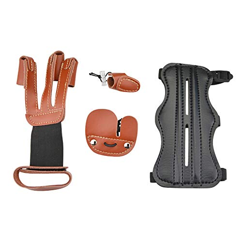 SHARROW Bogenschießen Armschutz Leder Fingerschutz Fingertab Handschuhe Daumenring Schutz Schießhandschuhe Schutzausrüstung für Recurve Bogen Langbogen