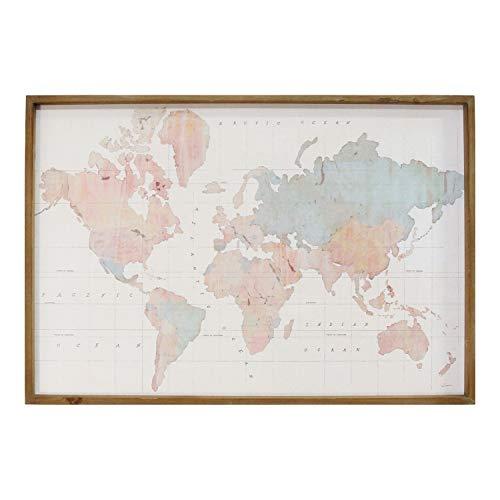 Stratton Home Décor Stratton Home Decor Watercolor World Map Print Art Wall Décor, 44.00W X 1.50D X 30.00H, Multi