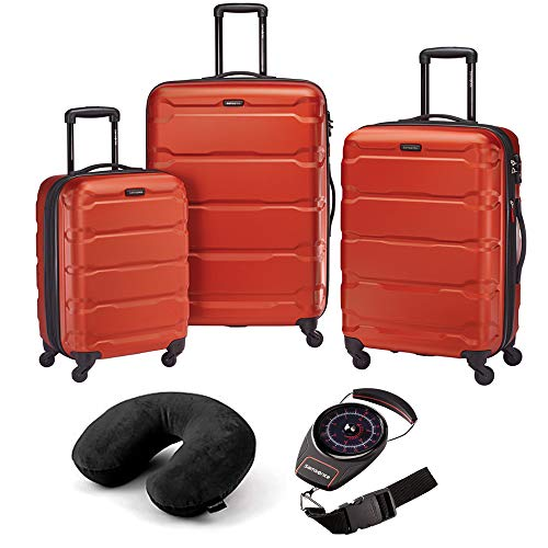 Samsonite 68311-1156 Omni Hardside Luggage Nested Spinner Set (20 Inch, 24 Inch, 28 Inch) - Burnt Orange Bundle with Microbead Neck Pillow with Travel Pouch and Manual Luggage Scale